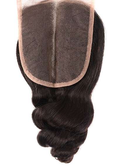 Double drawn body wave closure natural color