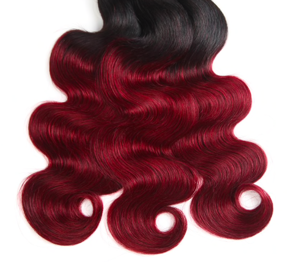 Super double drawn body wave dark wine ombre