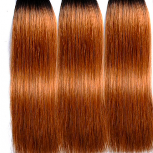 Super double drawn straight hair bundle - copper ombre